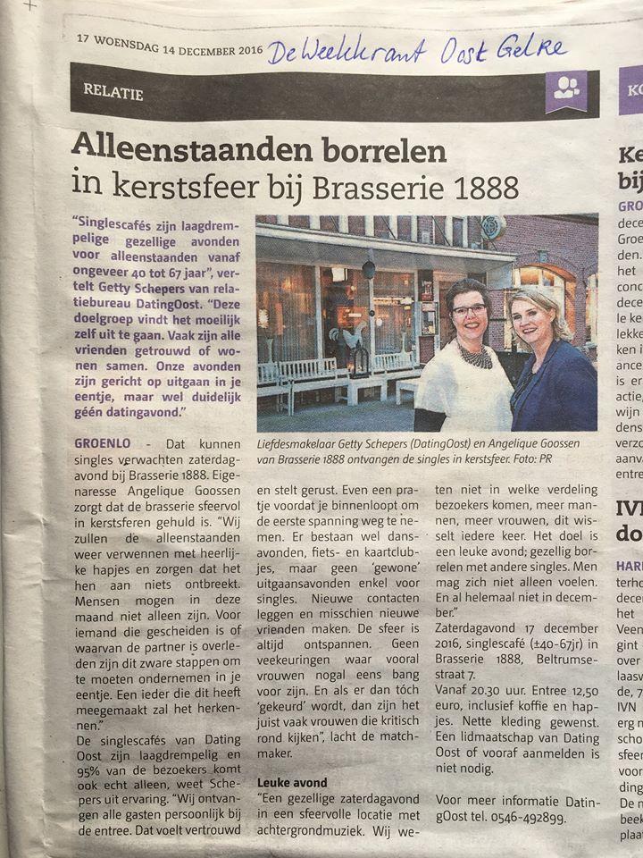 persbericht Oost Gelre singlescafe Brasserie 1888 dec.2016