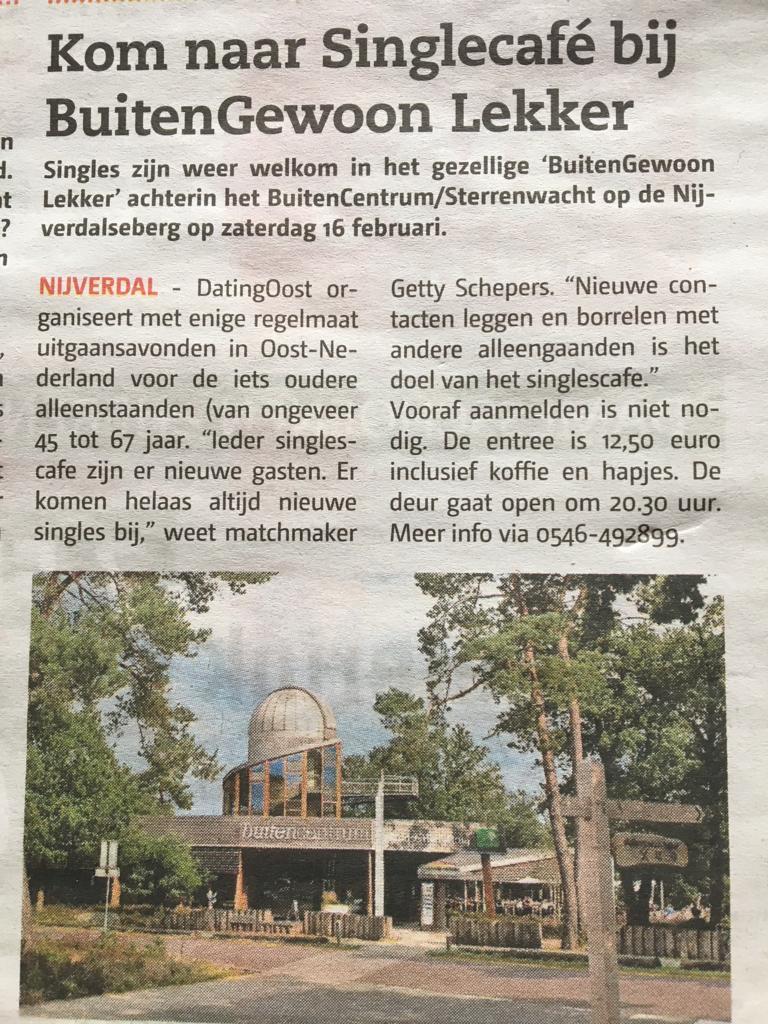 speeddate senioren singlecafe alleenstaanden Nijverdal datingoost BuitenGewoon Lekker