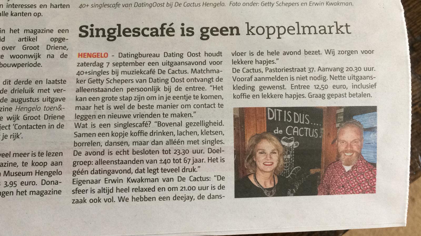 aankondiging in Hengelo's Weekblad singlecafe De Cactus Hengelo (ov)