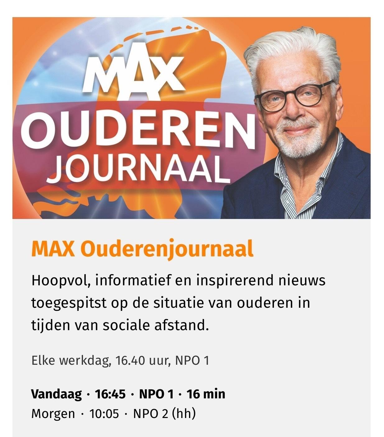 Omroep Max ouderen journaal datingoost speeddate senioren Holten Outdoors