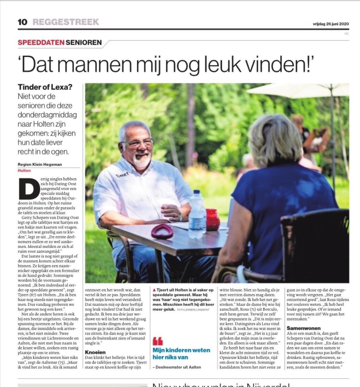 Speeddaten voor senioren in outdoors holten dating oost geschreven door Regien Klein Hegeman Holten Tubantia Reggestreek